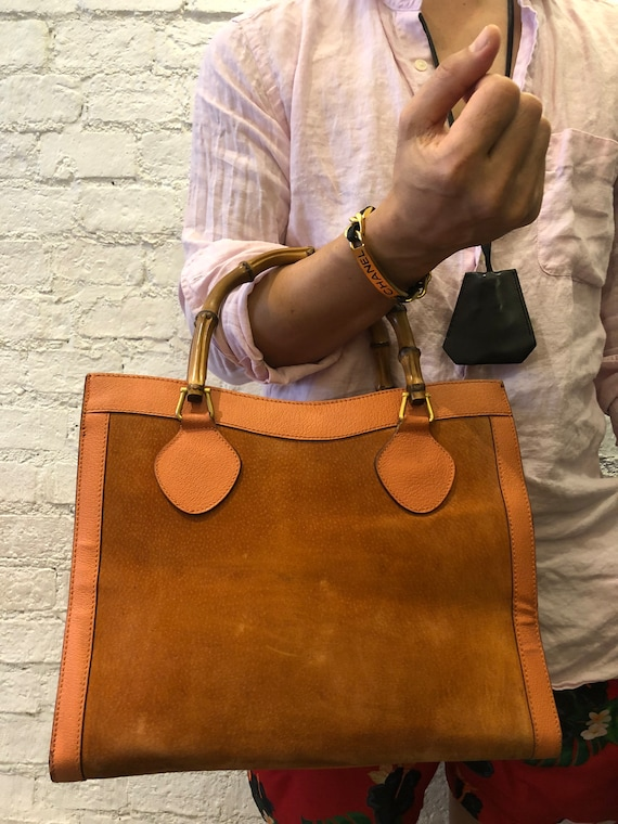 Authentic GUCCI Orange Suede Leather Bamboo Tote … - image 8