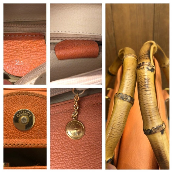 Authentic GUCCI Orange Suede Leather Bamboo Tote … - image 7