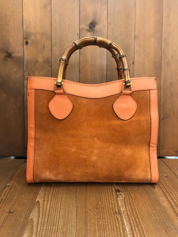Authentic GUCCI Orange Suede Leather Bamboo Tote … - image 1