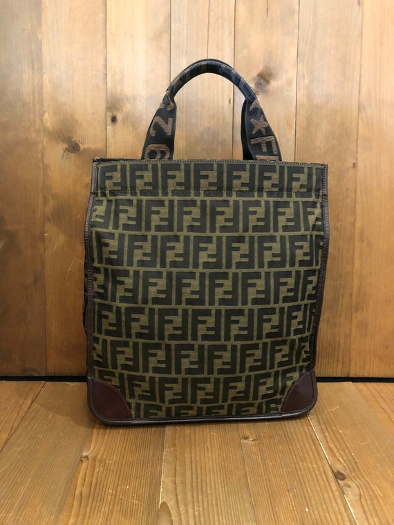 Authentic FENDI Brown Zucca Jacquard Foldable Tote