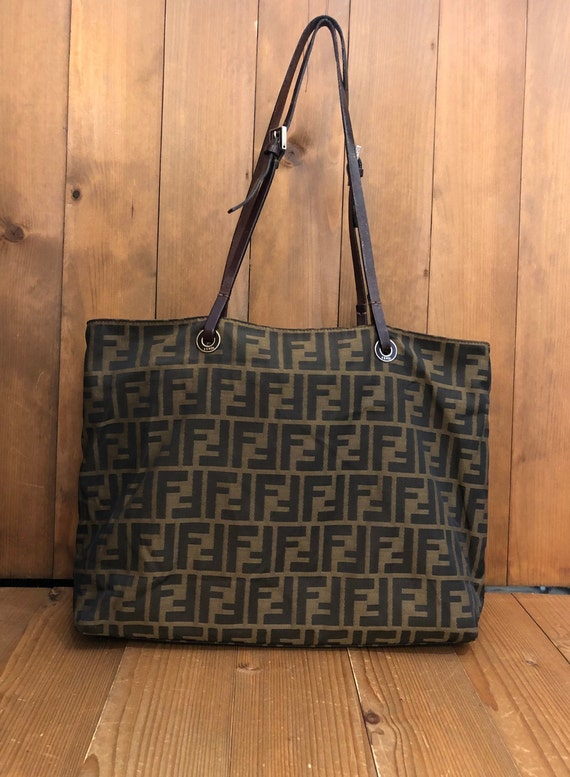 Authentic FENDI Brown Zucca Tote Bag (Zip Top)