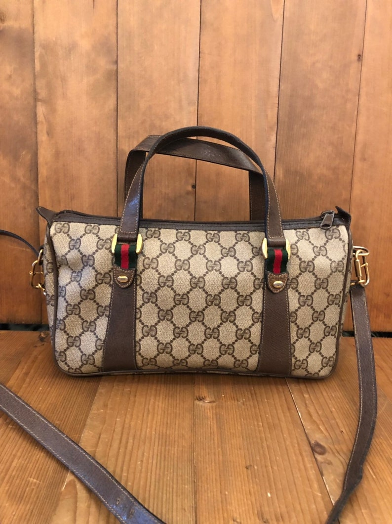 63d962a1db356a Authentic GUCCI Web Brown GG Monogram Canvas Crossbody Boston | Etsy
