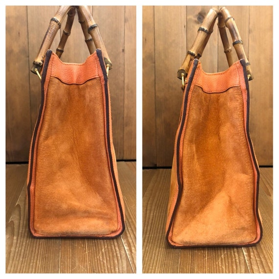 Authentic GUCCI Orange Suede Leather Bamboo Tote … - image 5