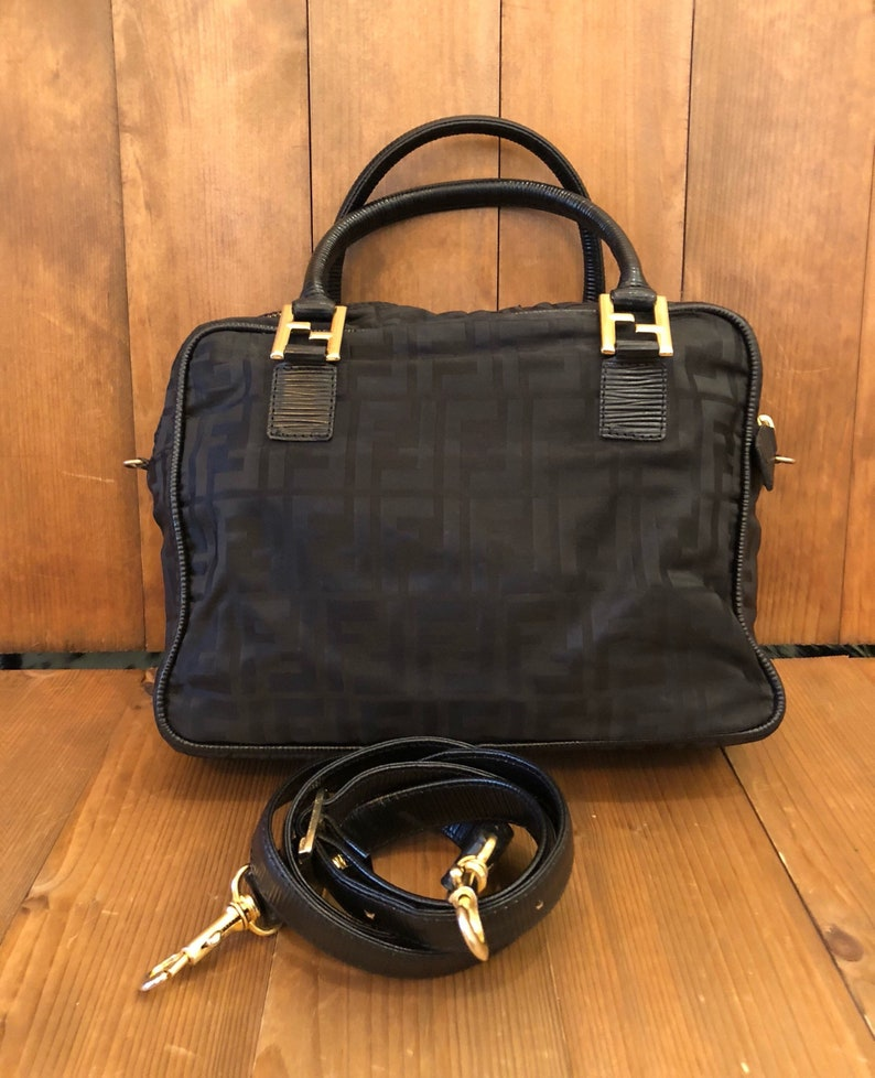 Authentic FENDI Zucca Black Nylon Jacquard Crossbody Tote  1ceef5528bb10