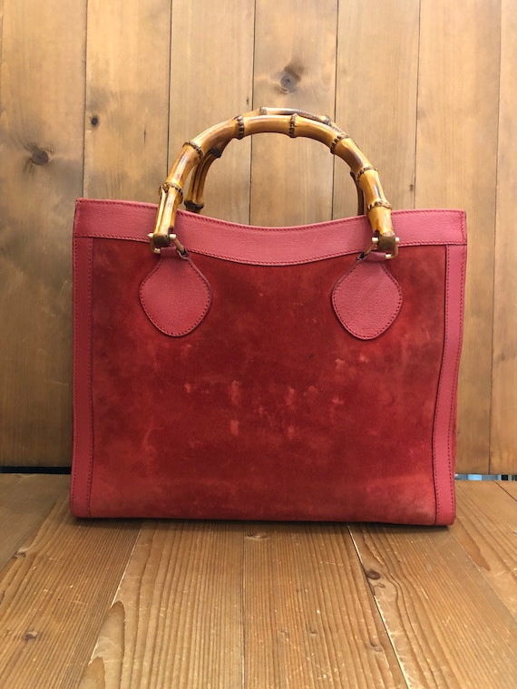 Authentic GUCCI Red Suede Leather Bamboo Tote Pri… - image 1