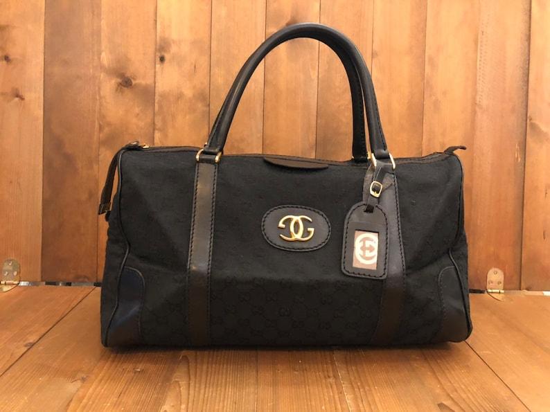 3feb776006 Authentic GUCCI Black GG Monogram Jacquard Boston Duffle Bag | Etsy