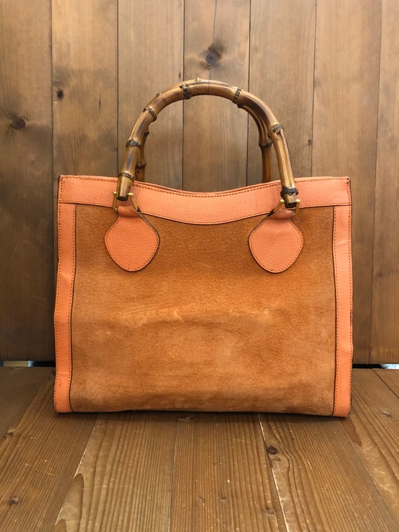 Authentic GUCCI Orange Suede Leather Bamboo Tote … - image 2