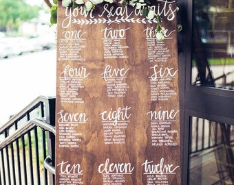 Custom Wood Seating Chart Sign