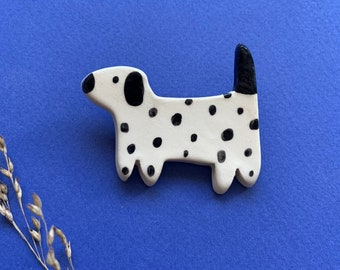 Enamelled ceramic Dalmatian dog brooch