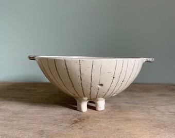 Small handmade ceramic fruit colander