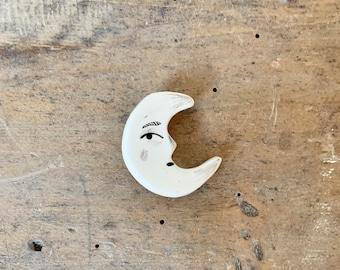 Ceramic moon brooch