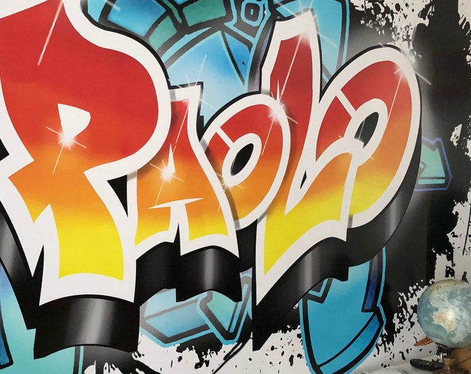 Featured listing image: Graffiti Custom print on board or giant sticker. 100% Customizable with your name, colors, style ...