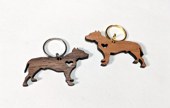 Pitbull Wooden Keychain