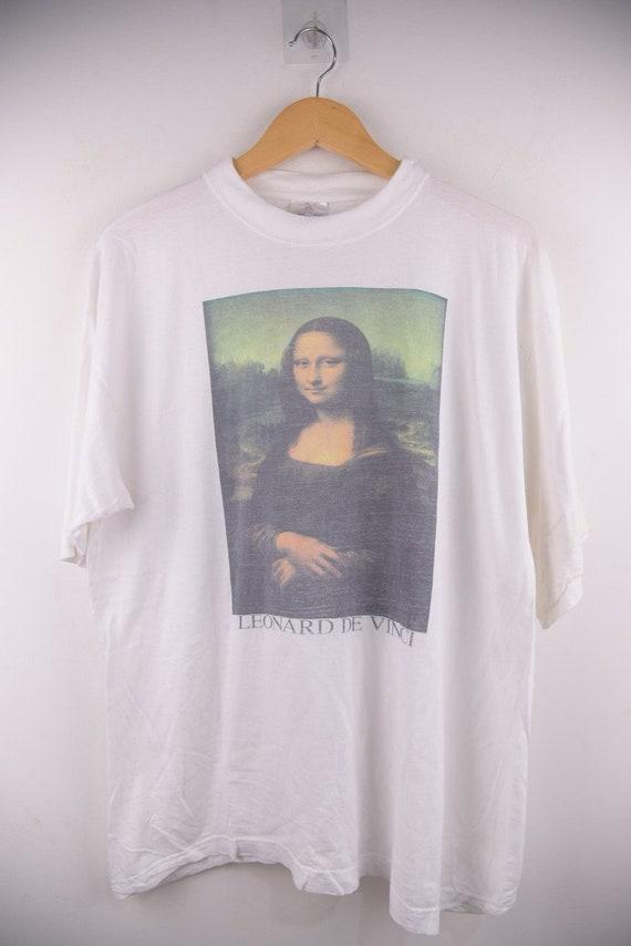 Vintage 90s Leonard De Davinci Monalisa Art T-Shir