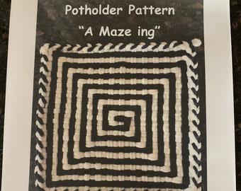 "PATTERN  ""A Maze ing"" Potholder Loop Pattern for 27 X 27 (Pro) size loom PDF"