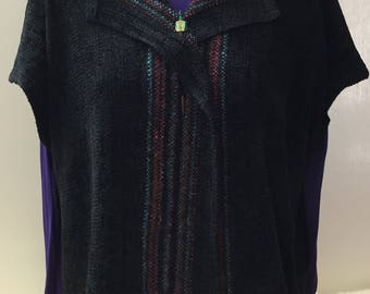 8c010492 Handwoven Jacket, Short Sleeves, Black with Multi-Colored Stripes