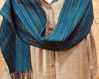 Handwoven Shawl/Scarf; teal and gold  yarn; fringed; unique gift