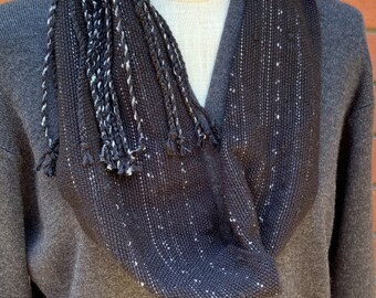 Hand Woven Mobius Cowl,  Handwoven Cowl, Infinity Scarf, Handmade Scarf, Unique Gift, Statement Accessory, Teacher Gift