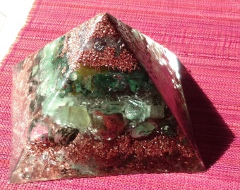 Peace, Heart/Soul Healing Crystals Orgone Pyramid (3 Sizes Available)