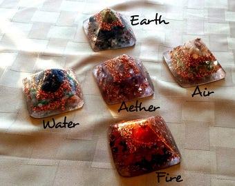 Feng Shui Balancing the Elements Crystals Orgone Pyramid (SET OF 5)