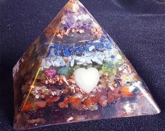 7-Chakra Cleansing Crystals Orgone Pyramid