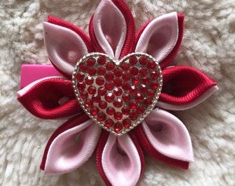 Kanzashi Valentines Ribbon Hair Bow