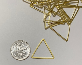 Gold Triangle Charms Wholesale RBG082 8x50mm 24k Shiny Gold Plated Textured Triangle Blanks Triangle Earring Triangle Pendant
