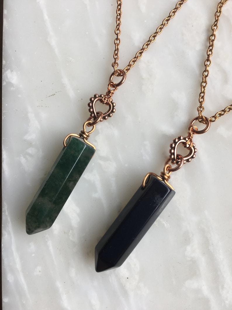 Gemstone Bullet Agate Blue Sandstone Copper Heart Necklace