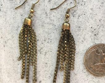 Antique Gold Chain Tassle Earrings