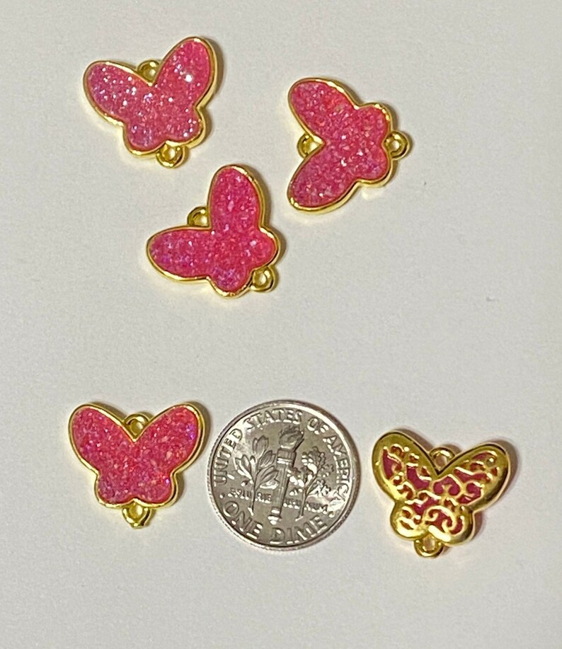 2 Pink Druzy Butterfly Fancy Back Gold Fill Connector Charm Pendant 20322