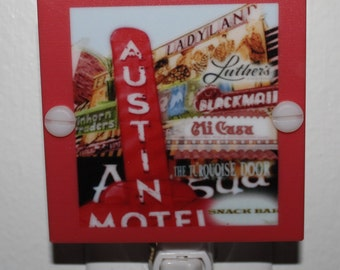 Austin Motel Night Light Funky & Colorful Night Light Hand Made with LED and free shipping