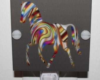 Rainbow Colored Vibrant Horse Night Light With Free Shipping and LED Fixture