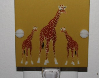 Giraffe Mom & Babies Night Light Hand Made With LED and Free Shipping