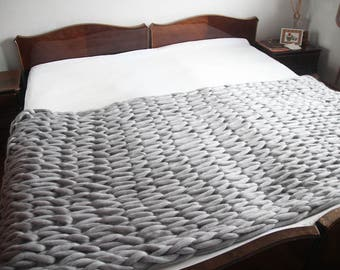 Super Chunky Blanket, Wool throw, Hand knit blanket, Pure wool Blanket, Giant Knit Blanket, Huge Stitch Size, Arm Knit Blanket, Wedding gift