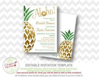 Luau bridal shower invitation etsy pineapple luau bridal shower invitations printable editable hawaiian wedding shower invite white gold green filmwisefo