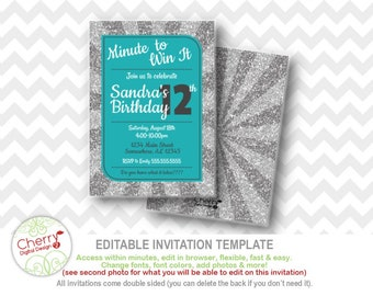Minute win party etsy minute to win it girl birthday party invitation printable editable kids birthday game party teal silver glitter white maxwellsz