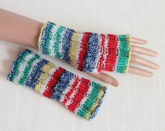 Knit cotton fingerless gloves Knit fingerless mittens Texting mitts Fingerless mitts Knit armwarmers multicolor Ready to ship in size S-M