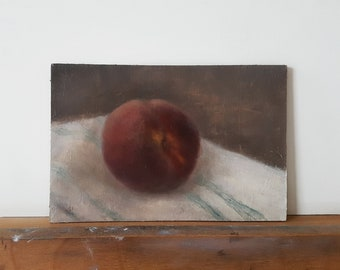 STILL LIFE PAINTING / Peach Original Oil Painting / Small Kitchen Artwork / 4x6 Fruit Original Painting / Still Life Small Wall Art /
