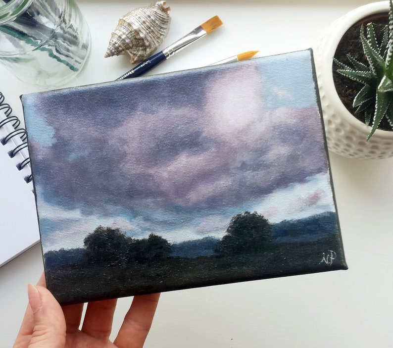Small landscape painting original oil landscape painting purple clouds  painting original oil art landscape wall art house decor small art