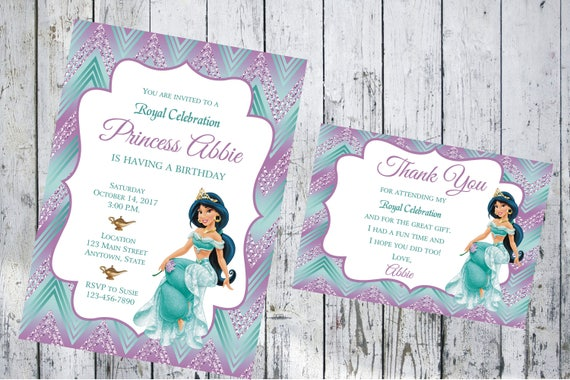 Aladdin S Princess Jasmine Birthday Invitation With Optional Thank You Card