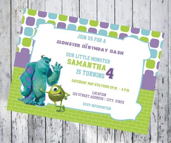 Monsters Inc 7x5 Birthday Invitation Etsy