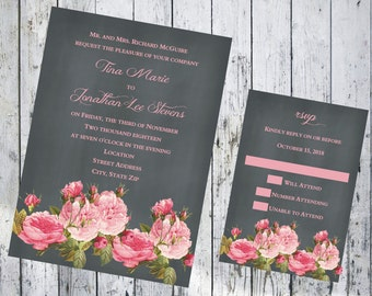 Chalkboard with Pink Roses Wedding Invitation