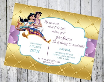 Aladdin Invitation Aladdin Birthday Invitation Aladdin