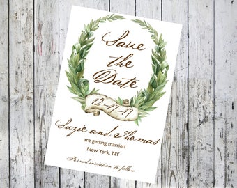 Laurel Green Wreath Save the Date