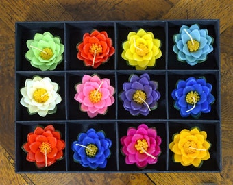 Beautiful Set of 12 Large, Colorful, Floating Lotus Flower Candles. Makes a Gorgeous Gift.