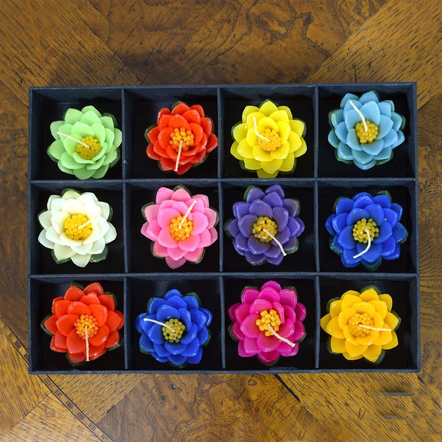 Beautiful Set Of 12 Large Colorful Floating Lotus Flower Candles
