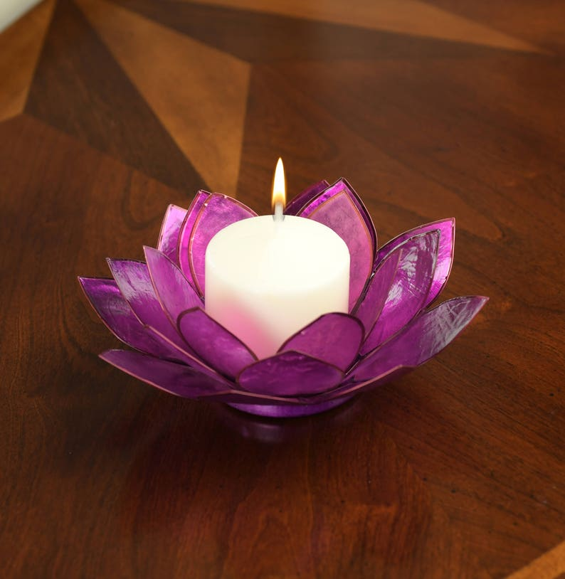 Purple Lotus Flower Capiz Shell Candle Holder A Real Jewel Etsy