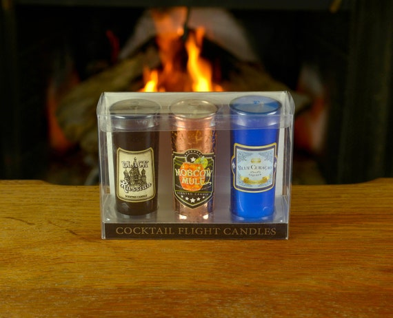 3-Piece Shot Glass Candles Boxed Gift Set With Scents of Black Russian, Moscow Mule and Blue Curacao