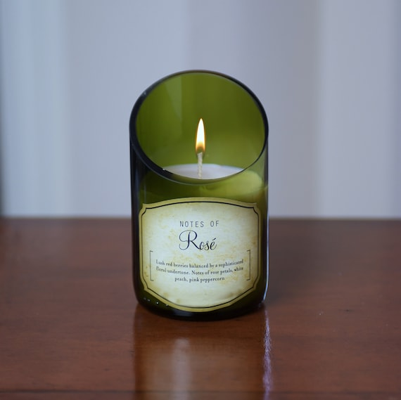 White Rose Wine Bottle Candle. Superb Value Wine Gift and Very Unique.
