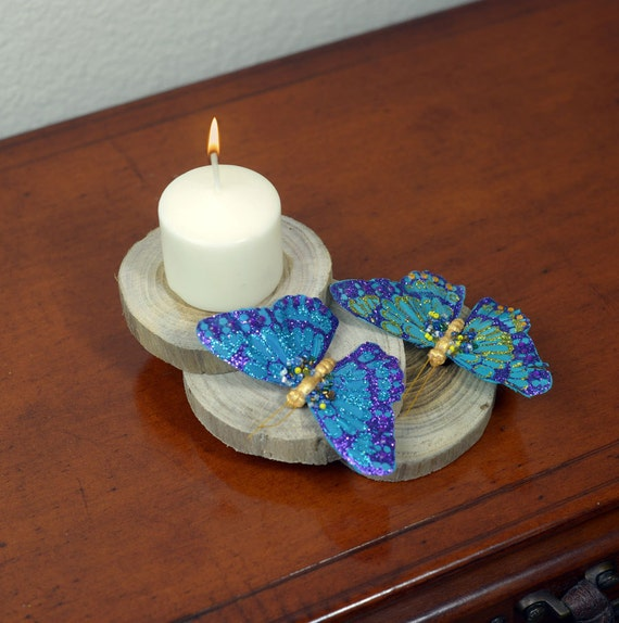 Wood & Butterflies Candle Holder